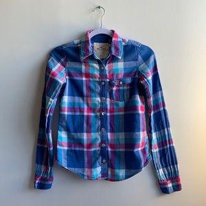 Blue Plaid Hollister Shirt XS